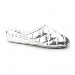 SYBIL Ladies Quilted Mule Slippers Silver