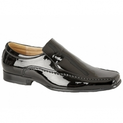 SYLVESTER Mens Faux Patent Leather Loafers Black