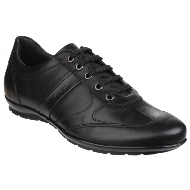 GEOX SYMBOL Mens Leather Smart Comfort Lace Up Trainers Black 087377a45