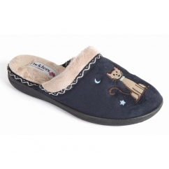 TABBY Ladies Microsuede Extra Wide Fit Mule Slippers Navy
