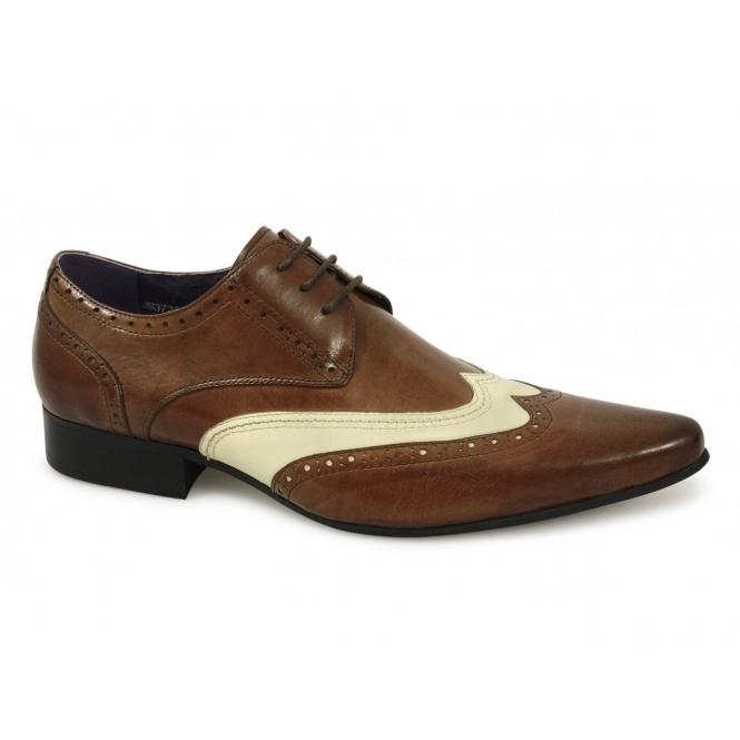 Gucinari TAMINO Mens Funky Leather Brogue Shoes Tan & Beige