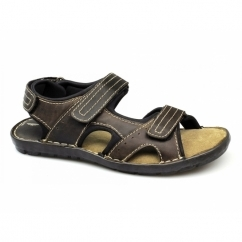 TAY Mens Leather Velcro Sport Sandals Brown