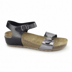 TEASE SOOTHE Ladies Flat Sandals Black/Silver