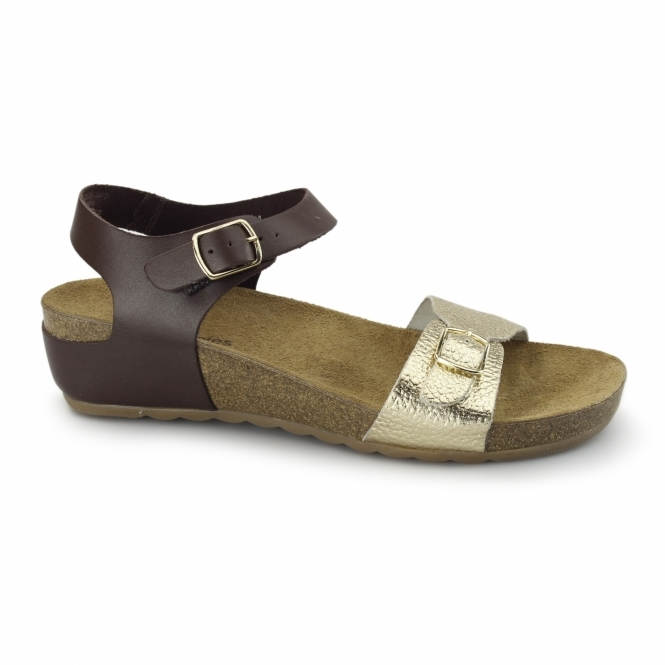 Hush Puppies TEASE SOOTHE Ladies Flat Sandals Brown/Gold