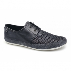 Base London TENT WEAVE Mens Soft Leather Espadrille Shoes Navy