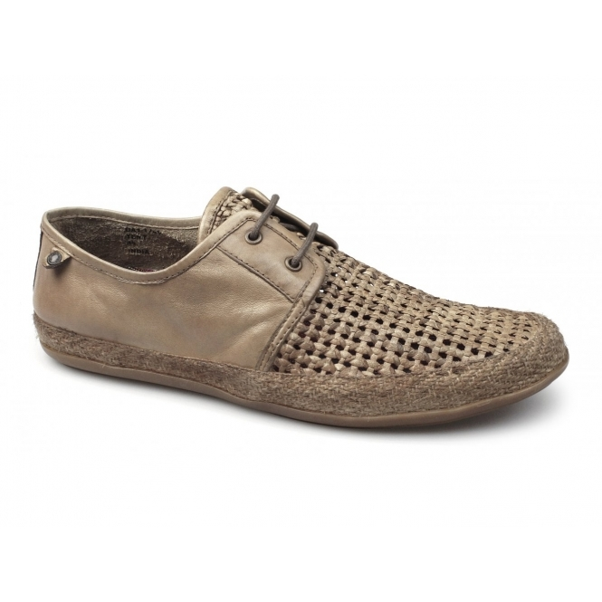 Base London TENT WEAVE Mens Leather Summer Shoes Tan