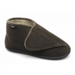 TERRY Mens Extra Wide Fit Touch Fasten Boot Slippers Brown