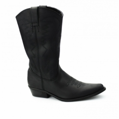 TEXAS HI Ladies Calf Length Leather Cowboy Boots Black