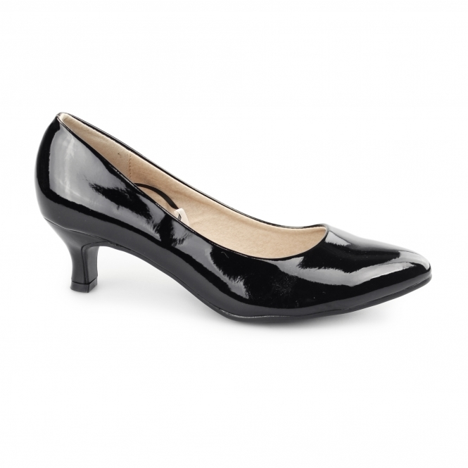 Comfort Plus TEXAS Ladies Kitten Heel Court Shoes Patent Black