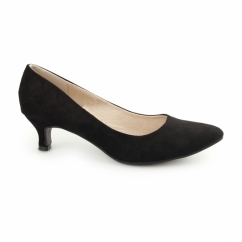 TEXAS Ladies Kitten Heel Court Shoes Suede Black