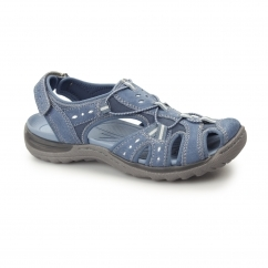 TEXAS Ladies Leather Touch Fasten Sandal Shoes Blue