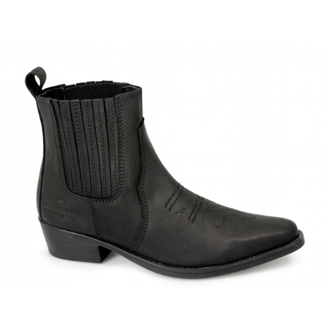 wrangler low mens leather cowboy boots black buy