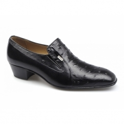 TEXAS Mens Ostrich Leather Cuban Heel Shoes Black