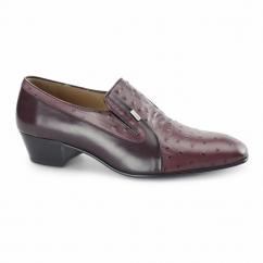 TEXAS Mens Ostrich Leather Cuban Heel Shoes Burgundy