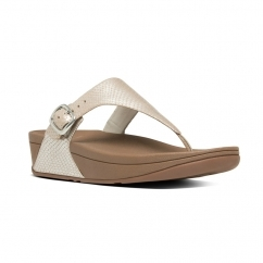 THE SKINNY™ Ladies Leather Toe Post Snake Print Sandals Silver