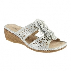 THELMA Ladies Floral Wedge Sandals Silver