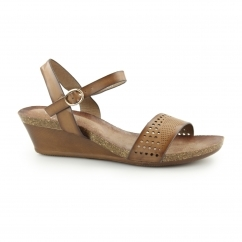 Down To Earth THERON Ladies Buckle Up Wedge Sandals Brown
