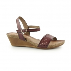 Down To Earth THERON Ladies Buckle Wedge Sandals Wine