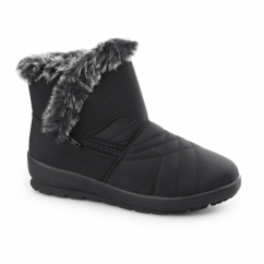 THUNDER Ladies Warm Lined Zip Winter Boots Black
