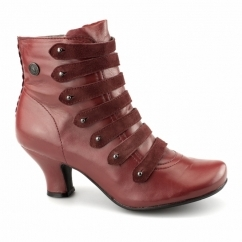 TIFFIN VERONA Ladies Leather Suede Zip Boots Red