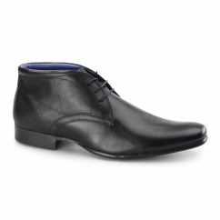 TILT Mens Leather Derby Boots Black