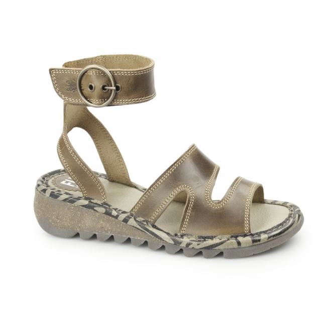 Ladies Heeled Leather Sandals Fly TILY CamelShuperb Buckle London 4Lq5Aj3R