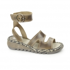 TILY Ladies Leather Buckle Heeled Sandals Camel