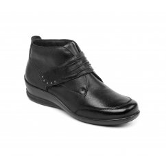 TINA Ladies Leather Wide/Extra Wide Touch Fasten Boots Black