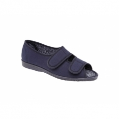 TINA Ladies Wide Fit EE Twin Velcro Peep Toe Slippers Navy