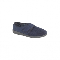 TOM Mens Faux Suede Velcro Slippers Navy
