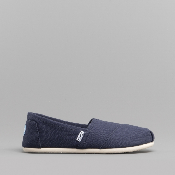 60551ec1574 TOMS ALPARGATA 10000873 Ladies Canvas Slip On Shoes Navy