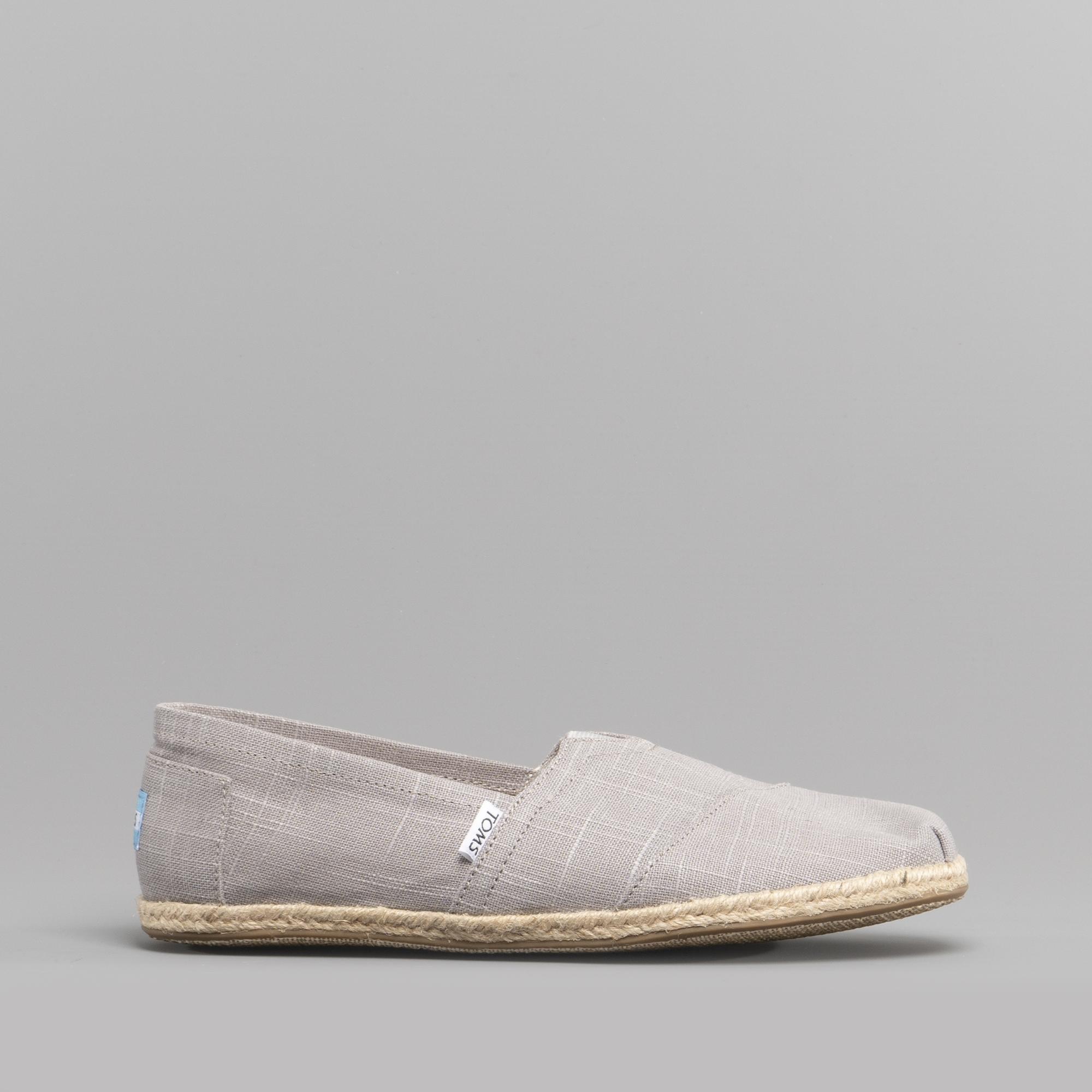 TOMS ALPARGATA 10008381 Mens Linen Slip On Shoes Grey