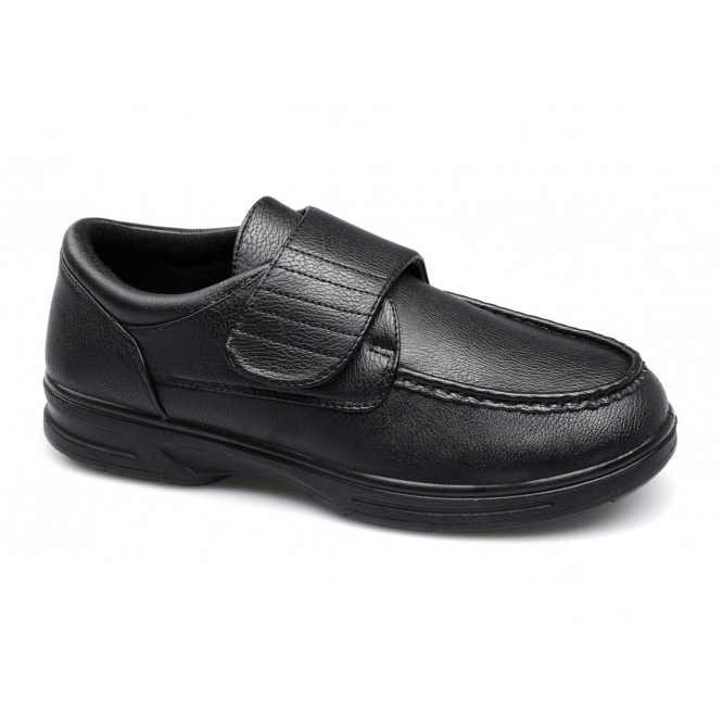 Dr Keller TONY Mens Touch Fasten Comfort Wide Fit Shoes Black