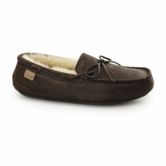 TORRINGTON Mens Sheepskin Moccasin Slippers Distressed