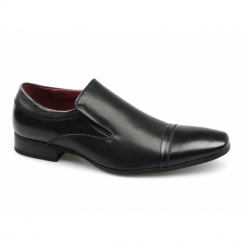TORYN Mens Faux Leather Slip On Shoes Black