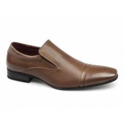 TORYN Mens Faux Leather Slip On Shoes Tan