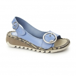 TRAM Ladies Leather Buckle Slingback Wedge Heeled Sandals Smurf Blue