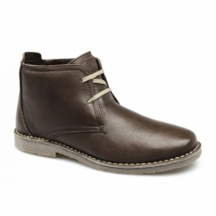 RORY Mens Leather Wide Padded Desert Boots Brown