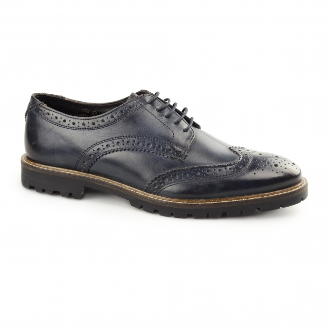 Base London TRENCH Mens Washed Leather Brogue Shoes Blue