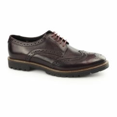 TRENCH Mens Washed Leather Brogue Shoes Bordeaux