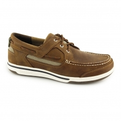 TRITON Mens Leather Casual Trainers Walnut