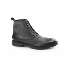 TROOP Mens Washed Leather Brogue Derby Boots Black