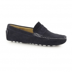 TROPEZ Ladies Suede Leather Driving Moccasins Navy