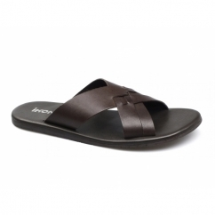 TRURO Mens Leather Slip On Mule Sandals Brown