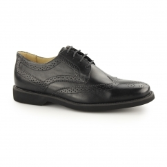 TUCANO Mens Leather Lace Up Smart Brogue Shoes Black
