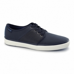 TURBO Mens Faux Soft Leather Trainers Navy Blazer