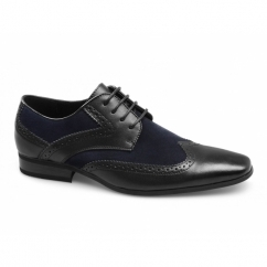 TURIN Mens Leather Suede Brogue Shoes Black/Navy