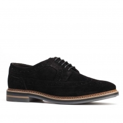 Base London TURNER Mens Suede Brogue Shoes Black