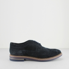 Base London TURNER Mens Suede Brogue Shoes Navy