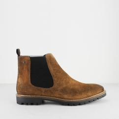 Base London TURRET Mens Suede Chelsea Boots Tan
